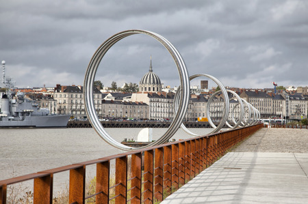 Rings on embankment of river Loire in Nantes, France