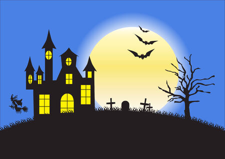 churchyard: Strange house, graveyard and bats on background of the full moon - illustration for Halloween