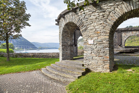 bulwark: Bulwark - historical customs station, built between 1659 and 1661, served to control shipping on the Rhine, Andernach, Germany Stock Photo