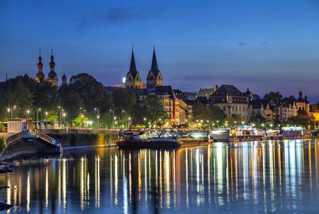 Koblenz skyline reflecting in river Moselle, Rhineland-Palatinate, Germany