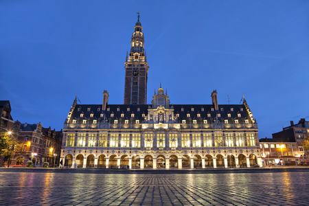 leuven: The university library on the Ladeuze square in the evening, Leuven, Belgium Editorial