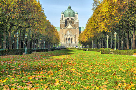 sacred heart: Autumn in Elisabeth park near basilica of Sacred Heart, Brussels, Belgium