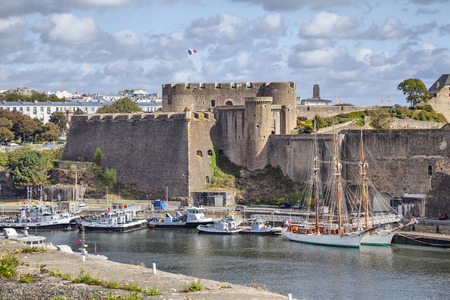 Old castle of city Brest, Brittany, France Editorial