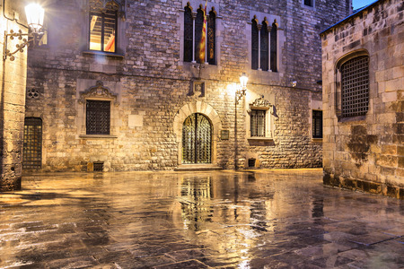old quarter: Gothic quarter of Barcelona in wet weather conditions, Spain Stock Photo