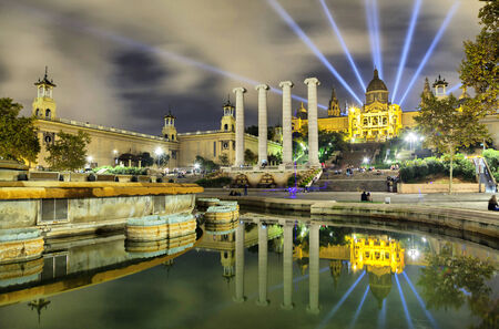 Building of Museum of Catalonia reflecting in water of fountain, Barcelona, Spain Editorial