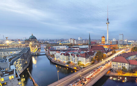 Evening in Berlin, aerial view (TV tower, river Spree, cathedral) photo