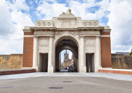 ypres: Menin Gate -  World War I memorial  inscribed with 54,896 names in city Ypres, Belgium, unveiled on 24 July 1927 Editorial