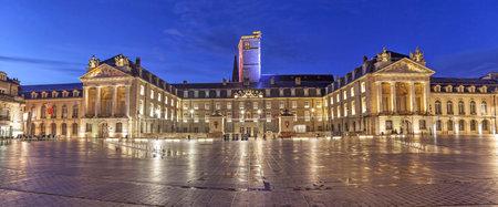 liberation: Evening panorama of Liberation Square, Dijon, Burgundy, France Editorial