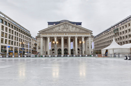 winter theater: Brussels, Belgium - December 05 2014: The new skating rink in Brussels, which opened opposite the theater La Monnaie near De Brouckere metro station.
