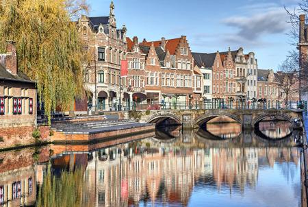 lier: Old buildings, canal and bridge in Lier, Flanders, Belgium