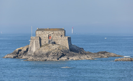fortify: Fort on Petit Be tidal island near historical city Saint-Malo, Brittany, France Editorial