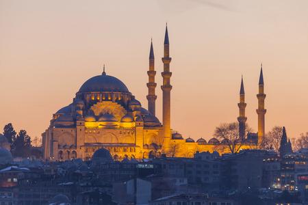 Suleymaniye mosque in the evening, Istanbul, Turkey