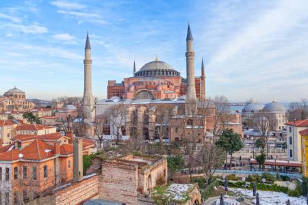 hagia: Hagia Sophia in winter evening, Istanbul, Turkey Stock Photo