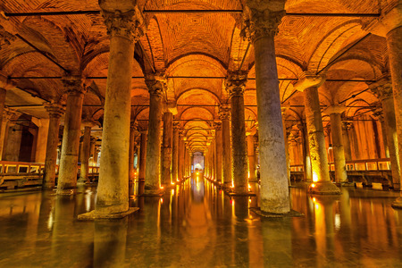Istanbul, Turkey - 22 February 2015: The Basilica Cistern - underground water reservoir build by Emperor Justinianus in 6th century 에디토리얼