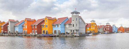 holland landscape: Panorama of Reitdiephaven in Groningen, Netherlands Stock Photo