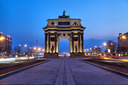 night city: Triumphal Arch in the evening, Moscow, Russia Stock Photo
