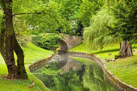 liege: Stone Bridge in Parc de la Boverie in Liege, Wallonia, Belgium