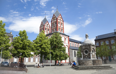 Liege Belgium  May 22 2014: Square and Church of Saint Bartolomy in Liege Belgium