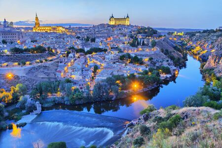 toledo town: Toledo in the evening with picturesque bend of river Tajo