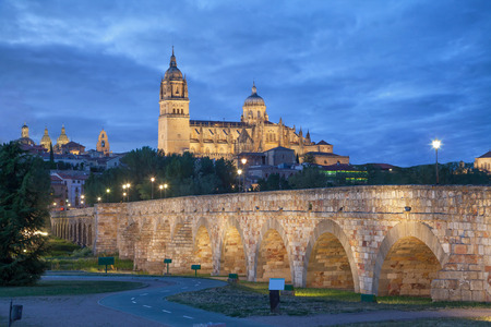 castile leon: Romana Bridge with New Cathedral at the background in the evening Salamanca Spain Stock Photo