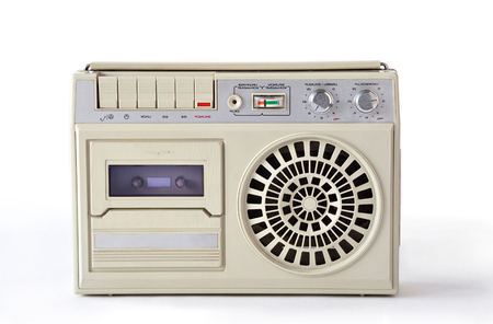 electronica: Old cassette tape player and recorder from USSR on white background