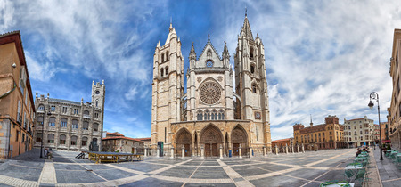 castile leon: Panorama of Plaza de Regla and Leon Cathedral Castile and Leon Spain