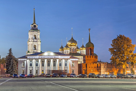 kremlin: Domes of Assumption Cathedral, kremlin wall and historical building with pillars in the center of Tula, Russia