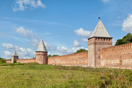 kreml: South wall three towers of Smolensk Kremlin, Smolensk, Russia Editorial