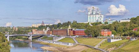 dnepr: Panorama of Smolensk: Dnepr river, north Kremlin wall and Assumption Cathedral. Editorial
