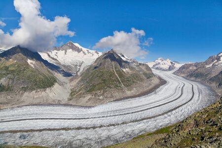 aletsch: View on Aletsch glacier from Eggishorn mount, Switzerland
