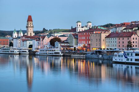 river       water: Passau skyline in the evening, Bavaria, Germany Stock Photo