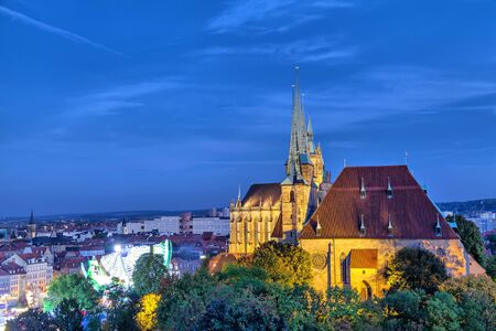 dom: St Severus Church in the evening, Erfurt, Thuringia, Germany