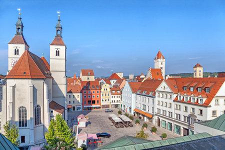 regensburg: Neupfarrplatz square and Neupfarrkirche in Regensburg, Germany Editorial