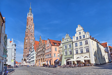 Colorful houses and Cathedral of St. Martin in Landshut, Bavaria, Germany