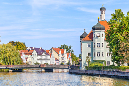 landshut: Isar river and bavarian style buildings on the banks, Landshut, Germany