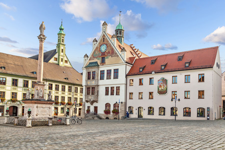 freising: Building of Town Hall on Marienplatz square in Freising, Bavaria, Germany