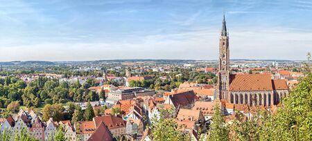 landshut: Panoramic aerial view of Landshut with St. Martin Church, Bavaria, Germany Stock Photo