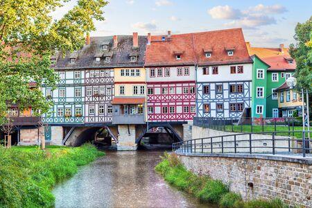 Bridge Kramerbrucke in Erfurt, Thuringia, Germany
