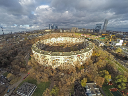 moscow: Moscow, Russia - November 03 2015: One of two round residental buildings in Moscow consructed to 1980 Olympic Games. Built in 1979, 9-storey, 936 flats, 26 entrances. Editorial