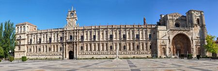 marcos: Panoramic view on facade of San Marcos monastery in Leon, Spain