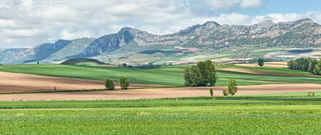 province: Panoramic landscape in Montes Obarenes-San Zadornil natural park, Burgos province, Spain