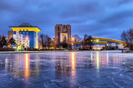 baranka: Odintsovo, Russia - December 29 2015: Odintsovo skyline in the evening with hockey and figure skating sports center Editorial