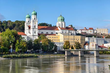 Marienbrucke bridge and cathedral in Passau, Bavaria, Germany