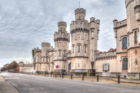 main gate: Main gate of historical Saint-Gilles prison in Brussels, Belgium with HDR effect