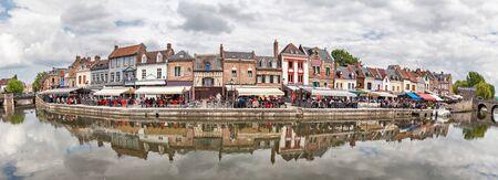 verandas: Panorama of Belu embankment with summer verandas of restaurants in Amiens, France