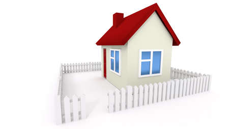 small roof: Small house with red roof and white fence on white background