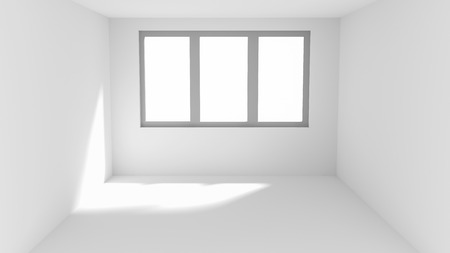 tight: Small empty white room with window and sun spot on wall and floor Stock Photo