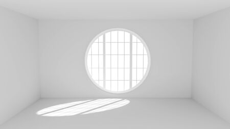 window: Empty white room with big round window and sunspot on the floor - 3d render