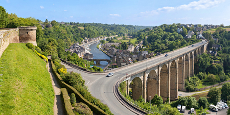 rance: Panoramic view on Viaduc de Dinan across La Rance river and port of Dinan, Brittany, France