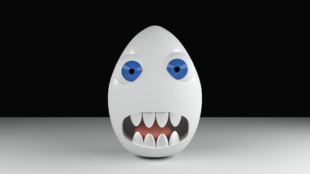 rendered: Monster egg with blue eyes and teeth on black background 3d illustration